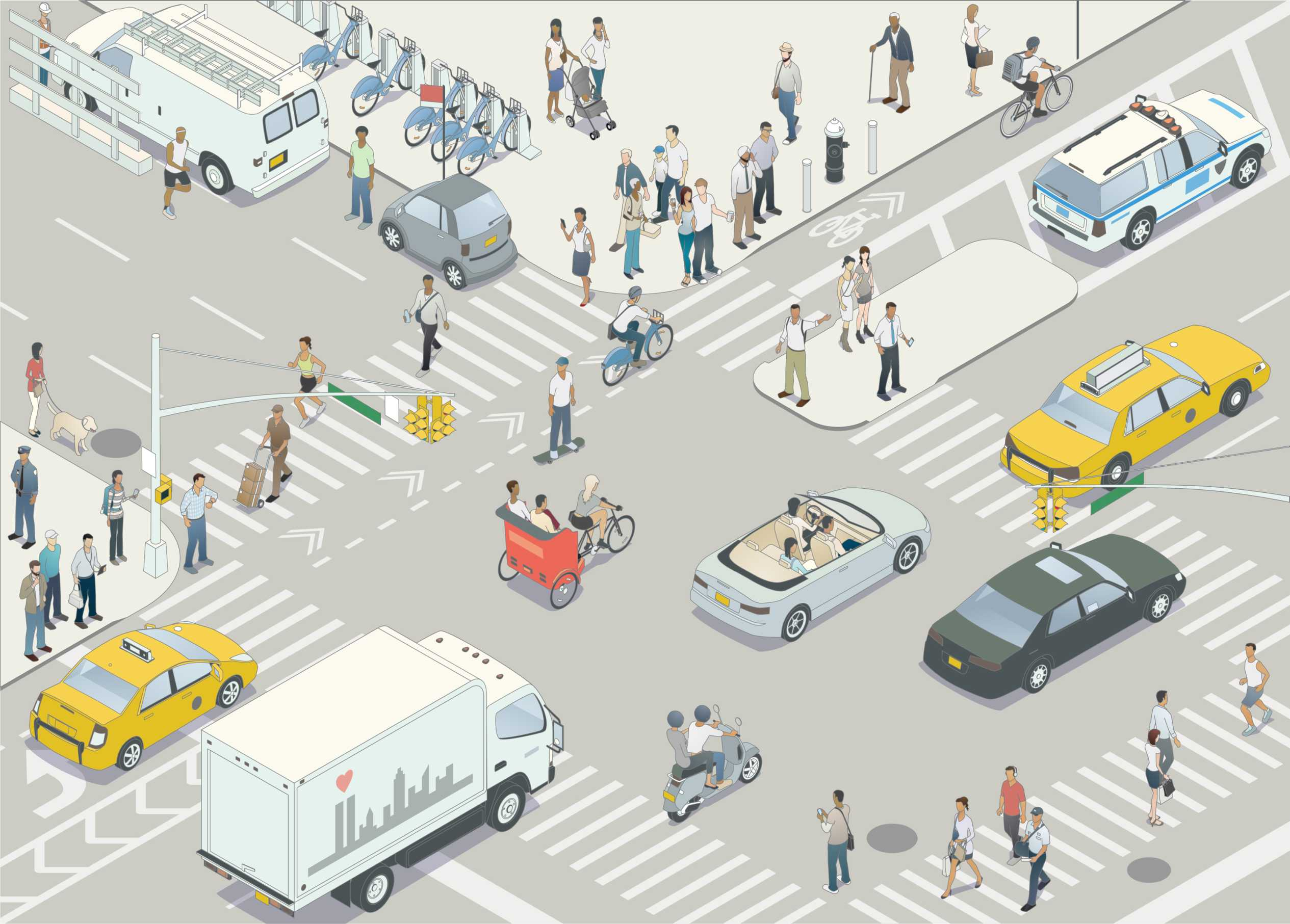 Busy city street with many types of road users