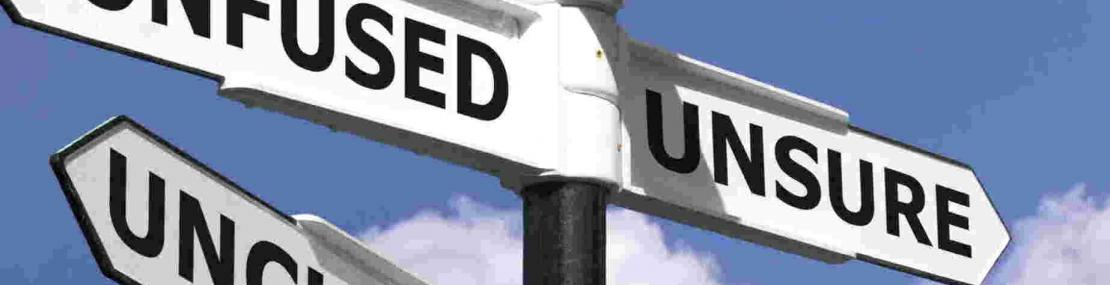 Street signs displaying confused, lost, unclear, and perplexed