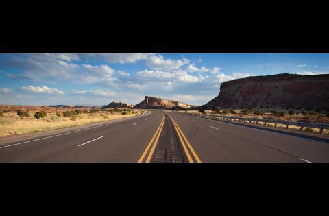 Desert highway with centerline rumblestrips