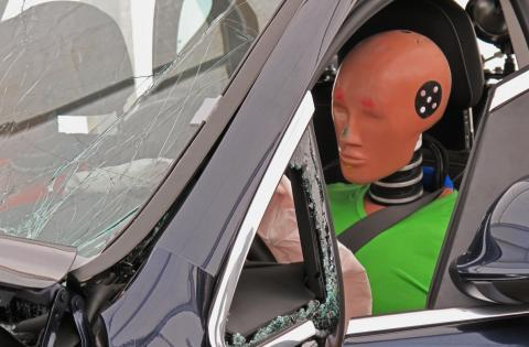 Dummy after a crash test