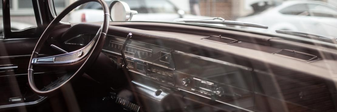 Interior of old car parked
